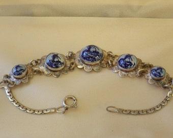 Vintage Delft Porcelain Blue Windmill Unmarked Sterling Silver Bracelet
