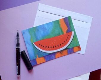 Postcard Fruit Postcard print Watermelon Art postcard print Reproduction print