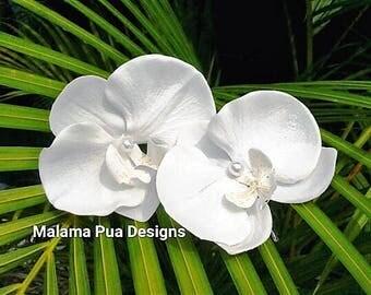 WEDDING Hair Pin, Hair accessory, Hair flower, Tropical, hair flower, flower clip, Bridal, headpiece, Beach Wedding, white orchid, Hawaiian