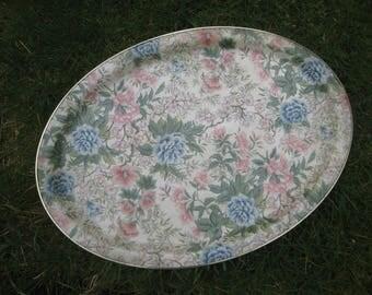 Vintage floral fibreglass tray, vintage fibreglass tray, vintage serving tray, vintage kitchenalia. 1950s decor, floral tray flower design