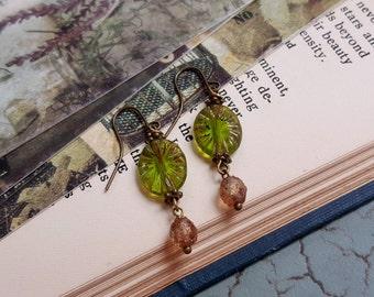 Rustic Czech glass earrings Olive green and golden copper boho earrings Dangling earrings