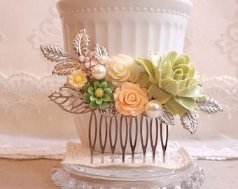 Bridal silver hair comb Rustic hair accessory Fresh green soft peach hair comb Pearl hair comb