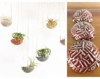 """air plant hanging planter / air plant holder / textured 3"""" wide / red"""