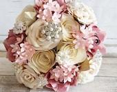 Paper Flower wedding bouquet origami rose blush dusky pink cream white ivory peony blossom Vintage Brooches elegant princess theme bridal