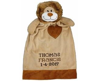 Baby Lion blanket, Personalized lovey blanket, Stuffed Lion Animal Blankey,  Monogram Blankey, Birth  Announcement Blankey, Memorial Plushie