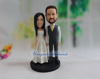 unique wedding cake topper, custom wedding cake toppers, funny wedding cake topper, custom bobbleheads, bobblehead, mini you, look like you
