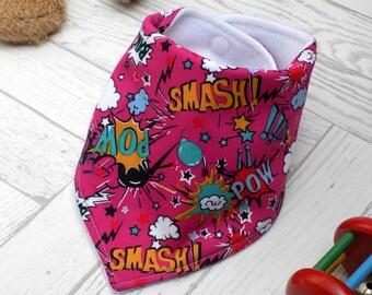 baby bandana bib, dribble bib, baby, bib, new baby gift, baby gift, toddler, superhero, new baby gift idea, baby girl, baby accessories