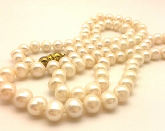 """Wonderful Vintage Beaded Women Knotted Necklace White 9.5 - 10.0 mm Freshwater Round Pearls Long 34.5"""""""