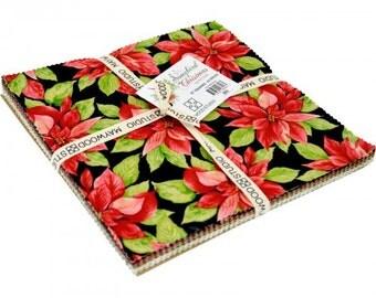 "Songbird Christmas Layer Cake (42 - 10"" x 10"" squares) by Maywood Studio, 100% Premium Cotton"