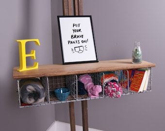 Children's Wire Storage Unit with Wooden Shelf - Children's Furniture