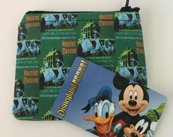 MINI Disneyland-Inspired Haunted Mansion Attraction Poster Handmade Fabric Small Zipper Pouch/Coin Purse