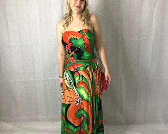 1970's Hippie Boho Stapless Dress