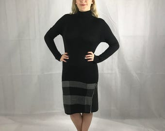 Colemai Retro Black Polo Neck Dress