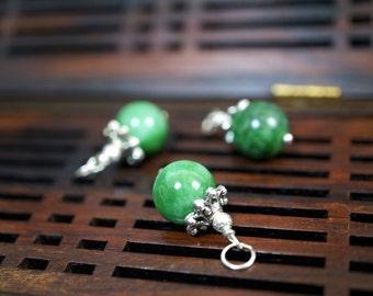Simple Emerald Jade Pendant - 10mm Green Jade Pendant