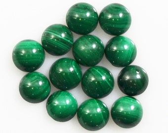 Malachite Cabochons 6mm Round Calibrated 20 Pieces