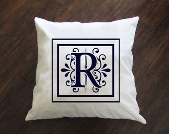 Initial Pillow - Throw Pillow - Accent Pillow with Zipper Closure - 18 x 18 Throw Pillow - 24x24 Pillow - Lumbar Pillow - Home Decor
