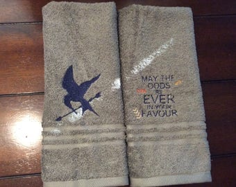 towel set with Hunger Games quotes/symbols/ Mocking-jay