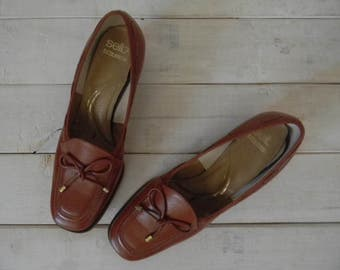 FREE usa SHIPPING vintage women's brown loafers chunky heel sweet lolita size 5 1/2