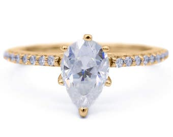 Charles & Colvard Forever One Pear Moissanite 4 Prongs Diamond Accent Ice Cathedral Solitaire Ring