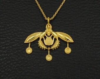 Minoan Malia Bees Pendant 18K Solid Yellow Gold Greek Handmade Art Luxury