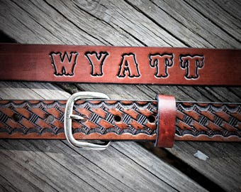 Classic Leather BasketWeave Belt with snaps--Made in the USA
