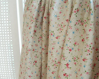 "Linen Fabric Floral pattern by the yards 54"" Cozy Ceci (natural)"
