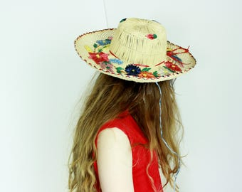 sun hat floral embroidered woven straw hat