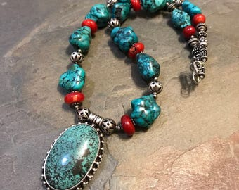 """18"""", Vintage Native American Turquoise, coral and Sterling silver beads necklace and turquoise pendant with beads around details, handmade n"""