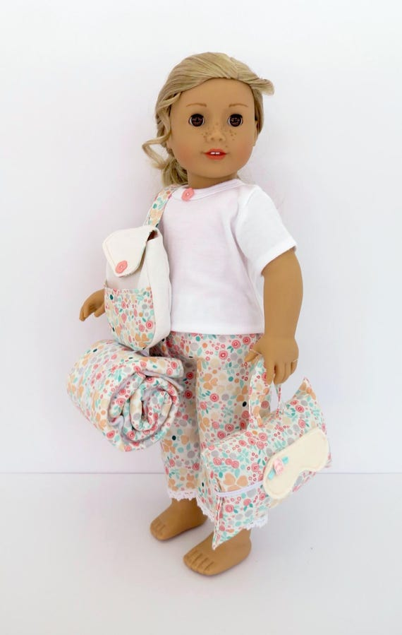 American Girl® Tenney Grant® inspired Doll SLEEPOVER SET Handcrafted for 18 Inch dolls Backpack, bedroll blanket, pillow, pajama set