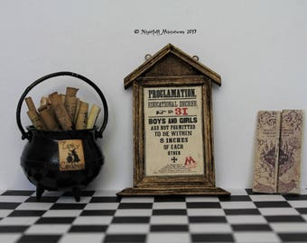Dollhouse Miniature Magic Harry Potter Inspired Proclamation Marauder's Map and Leaky Cauldron with scrolls in 1:12 scale