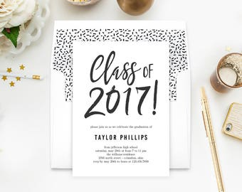 Proudly Brushed Graduation Party Printable Invitation Template - with Bonus Printable Envelope Liner - Editable in Adobe Reader