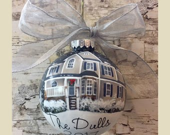 Custom House Portrait Ornament //First Home Ornament //Housewarmimg Gift// Personalized House Painting Ornament// Realtor Closing Gift//