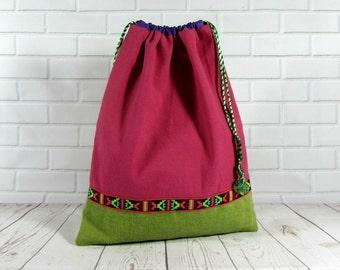 Drawstring bag, travel bag, pink and green shoe bag, lingerie bag, made in France, storage bag, toy bag