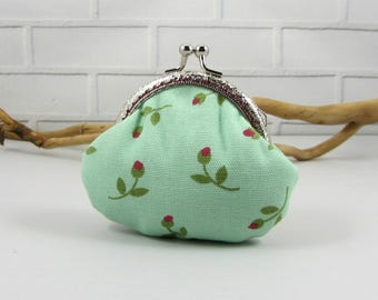 Green coin purse,  clasp pouch, handmade purse, change purse,  kiss lock purse, for her