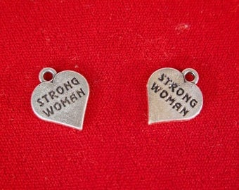 "BULK! 15pc ""Strong woman"" charms in antique silver style (BC1232B)"