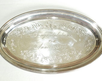 Vintage GORHAM Silver Plated Oval Tray