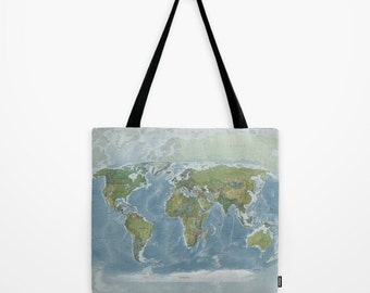 World Map Tote Bag, Modern topographical atlas map theme tote, everything bag, allover print, gift for mom, beach bag, travel bag, blue