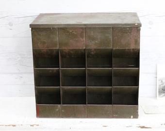 Vintage Large Rustic Metal Dispenser Cabinet; Vintage Metal Bulk Storage Bin; Army Green Industrial Container; Vintage Store Display