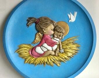 Vintage Christmas Painted Ceramic Wall Decor, Baby Jesus, Winged Angel, White Dove, Sky Blue Circle, Handmade 70s Religious Holiday Art