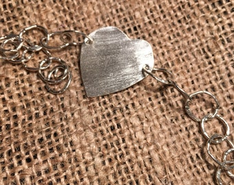 Fine Silver Heart Hammered Links Bracelet