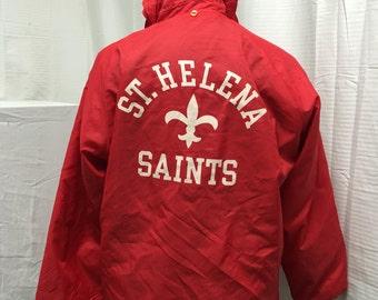 Champion, red, windbreaker, jacket, hooded jacket, mens, medium, St. Helana Saints, red coat