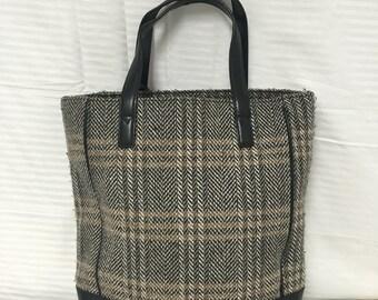 Eddie Bauer, tweed, tote, bag, purse, brown black