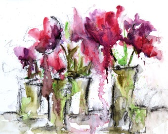 Expressive Tulip Flowers Watercolor Painting - Abstract Floral Tulip Painting - 8x10 Original Art - Loose Watercolor Paintings - NatureDecor