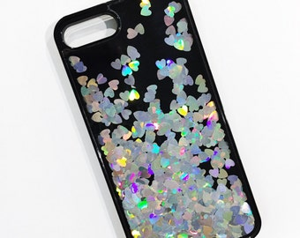 Silver Holographic Hearts Black Liquid Glitter Quicksand Cell Phone Case with TPU Bumper - iPhone 6 6s 7 Plus