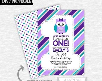 Purple Teal Owl Girl First Birthday Invitation DIY Printable (POW003)