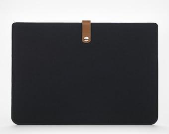 Macbook Pro 13 Case - Felt Macbook Pro 13 Sleeve - Macbook 13 Pro - Felt Macbook Case - Leather Macbook 13 Pro Black Sleeve