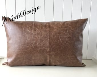 Industrial / Vintage Distressed Brown Bark Faux Leather lumbar/ rectangular Cushion / Pillow Cover