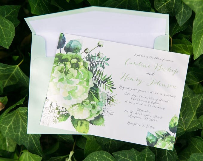 5x7 Shades of Green, Greenery Succulents Natural Wood Rustic Wedding Invitation with Details Insert and RSVP