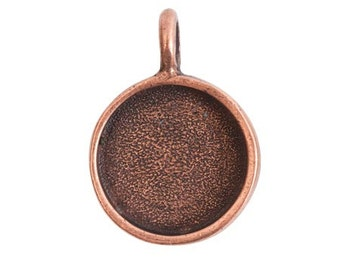 Small Bezel Pendant - Antique Copper (plated)