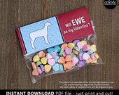 PRINTABLE Sheep Valentine Treat Bag Toppers for kids INSTANT DOWNLOAD - Valentine's Day party, Valentines goodie bag, farm, show market lamb